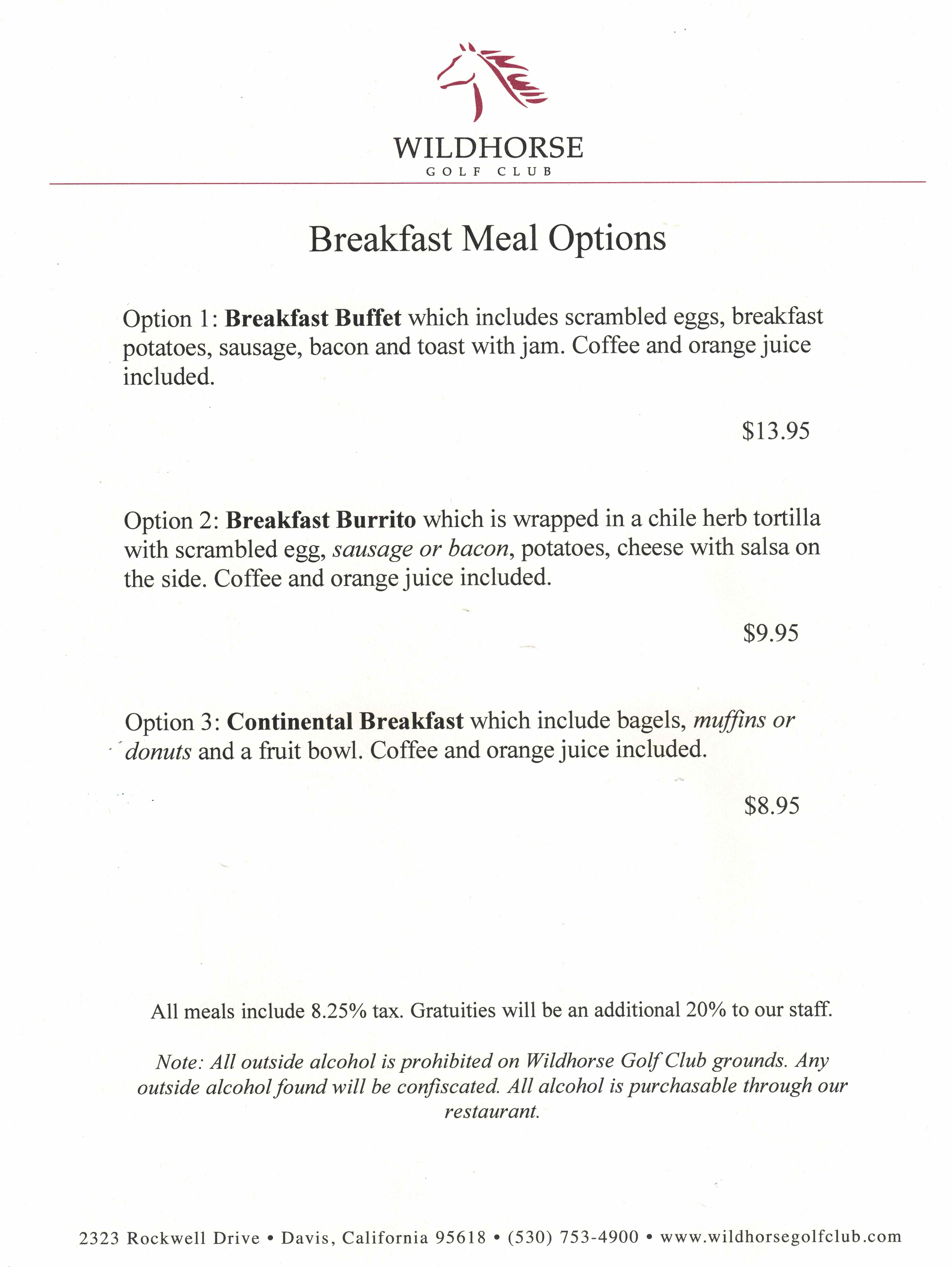 Breakfast Tournament Menu