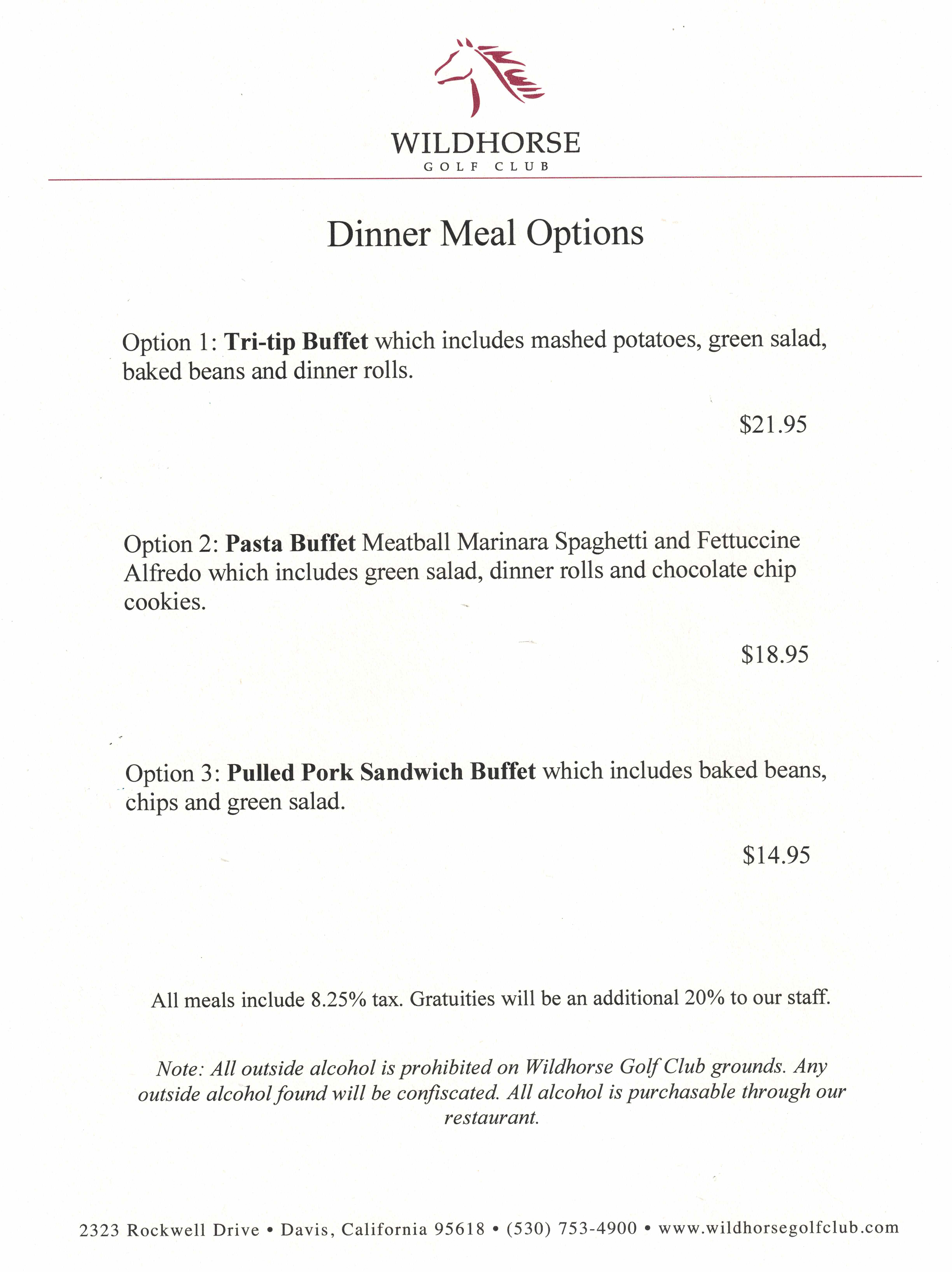 Dinner Tournament Menu