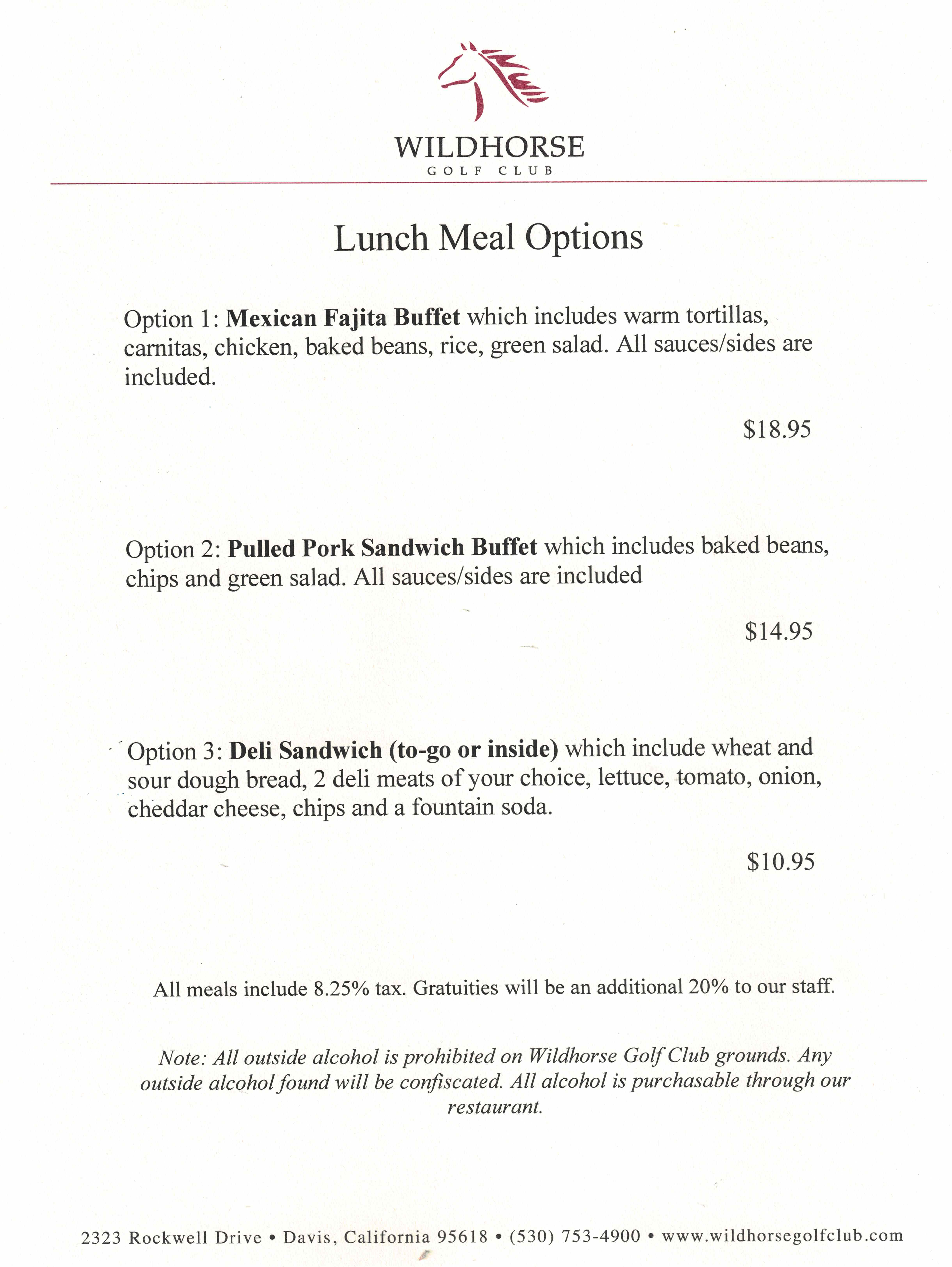 Lunch Tournament Menu